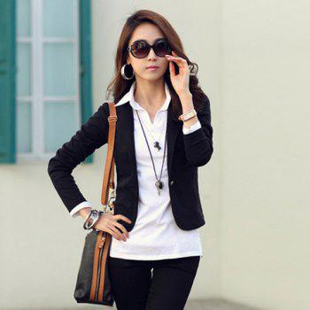 Sophisticated Slimming One Button Multicolor Cotton Blend Short Coat For Women - BLACK M