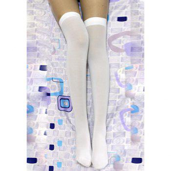 Slimming Solid Color Stocking For Women - WHITE WHITE