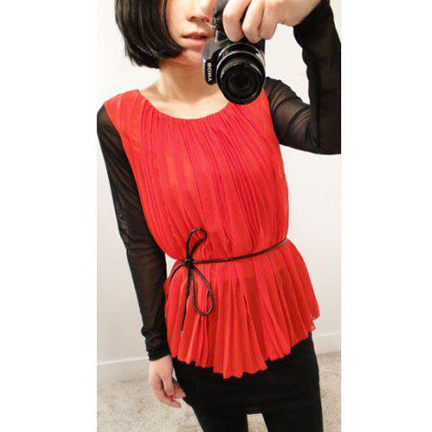 Stylish Ruffles Perspective Voile Matching Hip Wrap Long Sleeves Scoop Neck Chiffon Dress For Women - RED FREE SIZE