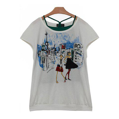 Mix Match Scoop Neck Funny Pattern Print Loose Fitting Cotton T-Shirt For Women - WHITE M
