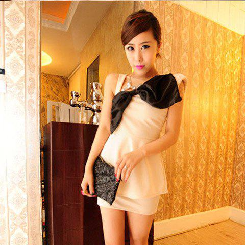 Slimming Sloping Shoulder Bow-Tie Embellished Cotton Blend Minidress For Women - APRICOT FREE SIZE