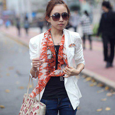 OL Style Lapel Double-Breasted and Vintage Fit Design Solid Color Quality Ployester Business Suit For Women - WHITE L