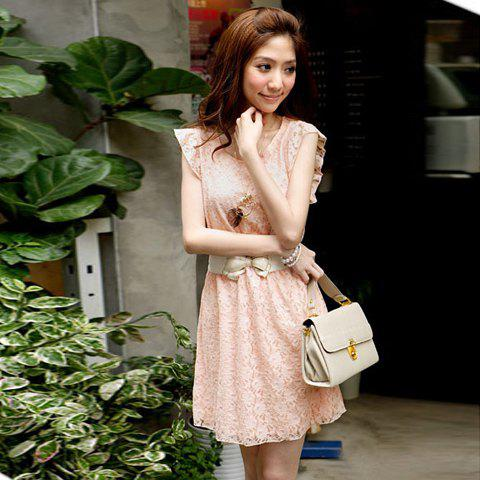 New Arrival Lace Round Collar and Short Sleeves Dress For Women - PINK FREE SIZE