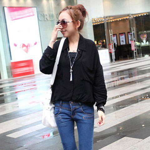 Stylish Lapel Single-Breasted and Pocket Design Bat-Wing Sleeves Loose-Fitting Shirt For Women - ONE SIZE BLACK