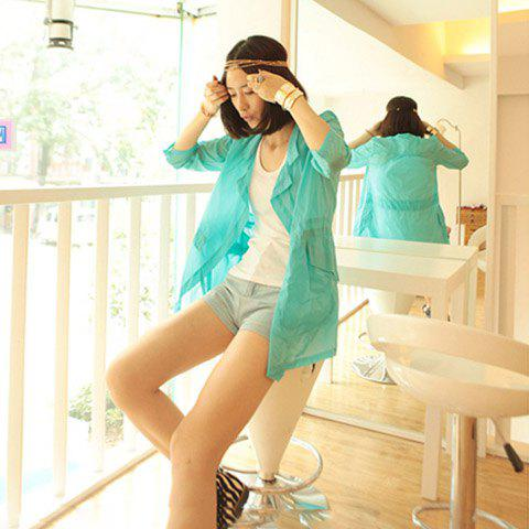 Sweet Lapel Solid Color Three Quarter Sleeves Thin Lycras For Women - GREEN FREE SIZE
