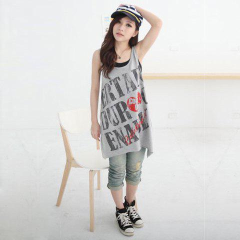 Delicate Scoop Neck Diagonal English Print Color-Match Two-Piece Sleeveless Cotton Blouse For Women - GREY/GRAY