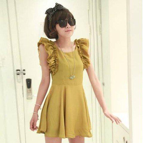 Retro Style Flounce Sleeves High Waist Scoop Neck Solid Color Cotton Blend Dress For Women