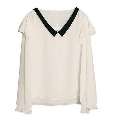 Lady Like V Neckline Color Match Flounce Enbellished Long Sleeves Chiffon Blouse For Women - WHITE ONE SIZE