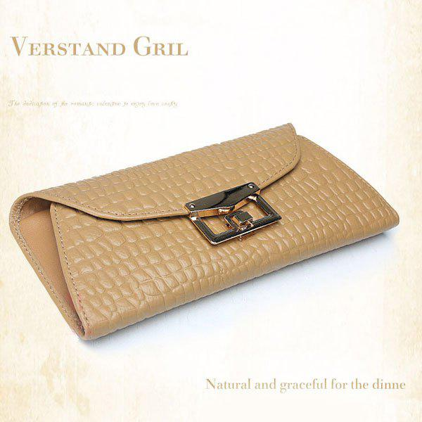 New Fashion Top Genuine Leather Smooth Cowhide Hand Wallet Bag - Apricot