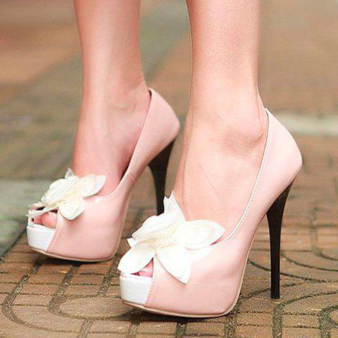 Fashion and Elegant Style Flower Embellished Peep Toes and Thin Heel Design Women's Platform Pumps - PINK 38
