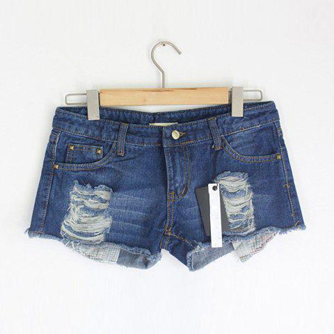 Fashionable Fit Showing Pockets Broken Hole Design Trimming Jeans Shorts For Women - AS THE PICTURE S