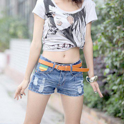 Casual Colorful Stripes Pockets Broken Hole Design Jeans Shorts For Women