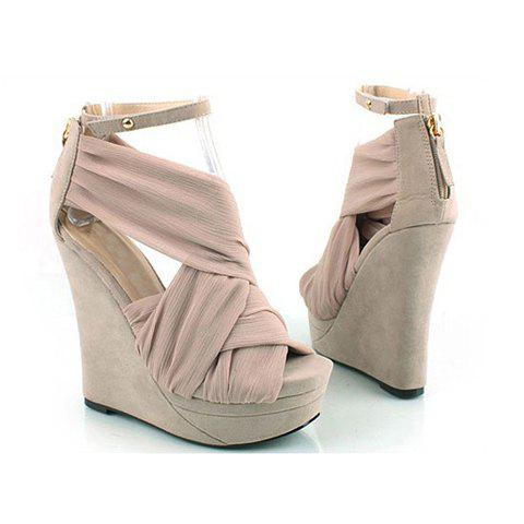 Fashion and Sweet Style Cross Ribbon Embellished Peep Toes and Buckle Design Women's Wedge Sandals - PINK 36