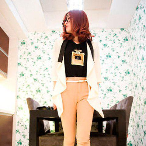 Casual Loose-Fitting Colormatching Three Quarter Sleeves Chiffon Blouse For Women - WHITE FREE SIZE