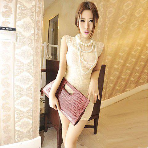 Dazzling Stand Collar Lace Sleeveless Dress For Women - APRICOT