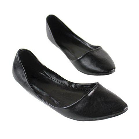 Casual Solid Color Pointed Head Design Soft Imitated Leather Women's Flat Shoes от Dresslily.com INT