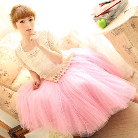 Elastic Waist Puff Five Layers Tulle Skirt - PINK FREE SIZE