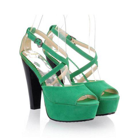 Fashion Elegant Cross Belt Embellished Peep Toes Design High-Heeled Women's Platform Sandals - 38 LIGHT GREEN