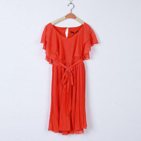Charming Flouncing Embellished Plunging Neck Pleated Chiffon Dress For Women - RED M