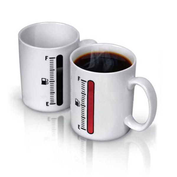 High Quality Thermometer Color Changing Porcelain Mug Coffee Cup - White - WHITE