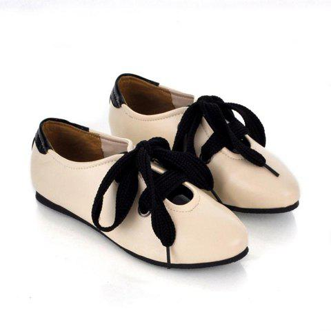 Casual Style Fashion Candy Color and Round Head Deisgn Lace-Up Women's Flat Shoes - APRICOT 36