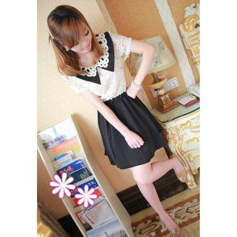 Sweet Knitting Flower Neck Lace Embellished Nipped-Waist Design Dress For Women - BLACK