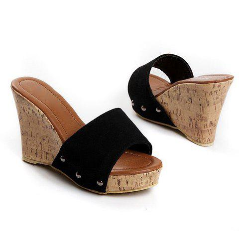 Vintage and Mix-Mached Style Studs Embellished Wedge Heel Design Women's Sandals - BLACK 35