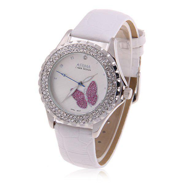 Stylish Astina Butterfly Patterned Japan Movt Leather Wrist Watch for Female (White) - WHITE
