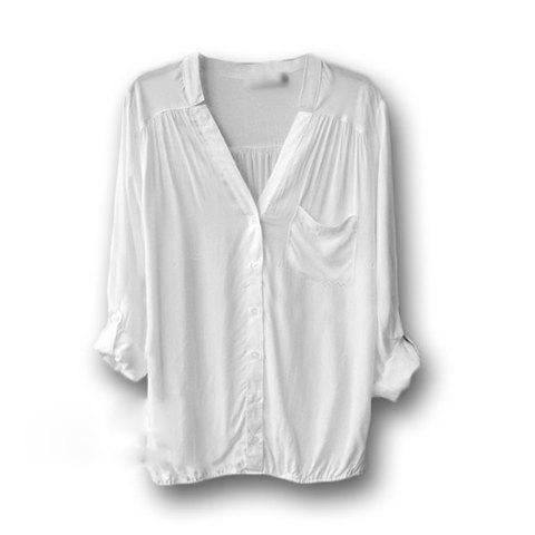 Retro Style Loose-Fitting Pocket Long Sleeves V-Neck Bourette Shirt For Women - WHITE L