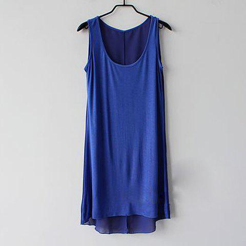 Slimming Fit Scoop Neck Multicolor Chiffon Splicing Modal Sundress For Women - BLUE L
