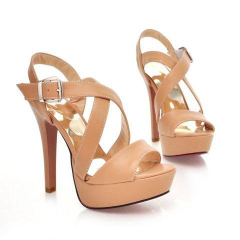 Elegant Solid Color Cross Belt Embellished High-Heeled Design Women's Platform Sandals - APRICOT 36