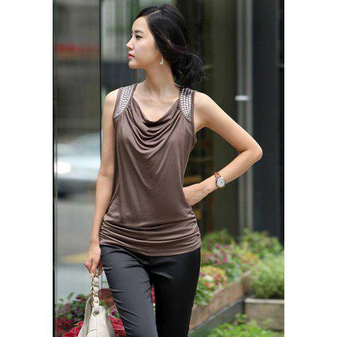 Elegance Style Cowl Neckline Sleeveless Cotton T-Shirt For Women - COFFEE XL