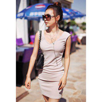 Slimming Scoop Neck Sleeveless Solid Color Dress For Women