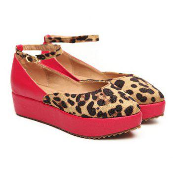 Fashion and Casual Style Leopard Print Embellished Buckle Design Women's Platform Shoes