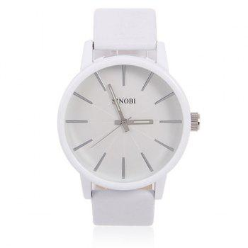 Sinobi Male Wrist Watch Leather Band Noctilucent Analog Round Shaped Dial -  WHITE