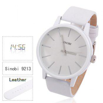 Sinobi Male Wrist Watch Leather Band Noctilucent Analog Round Shaped Dial - WHITE WHITE