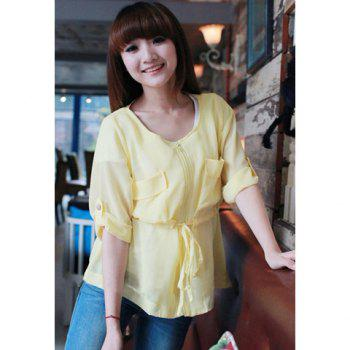 Round Neck Zipper and Pocket Design Loose Fitting  Chiffon Shirt For Women - YELLOW S