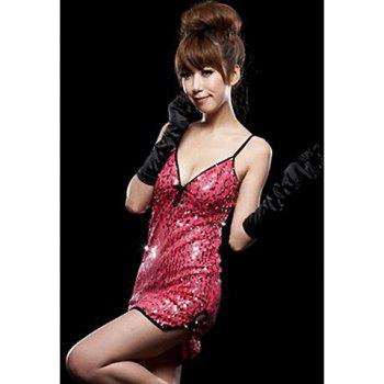 Sexy Slimming Style Dazzling Sequins Embellished Plunging Neck and Spaghetti Strap Design Women's Mini Club Dress