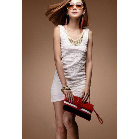Delicate Scoop Neck Solid Color Gold Beads Embellished Sleeveless Cotton Sundress For Women - WHITE