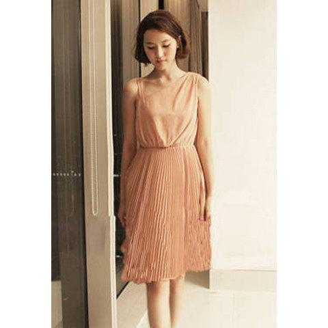 Elegant Ruffles Hem Inclined Shoulder Sleeveless Solid Color Chiffon Dress For Women - AS THE PICTURE FREE SIZE