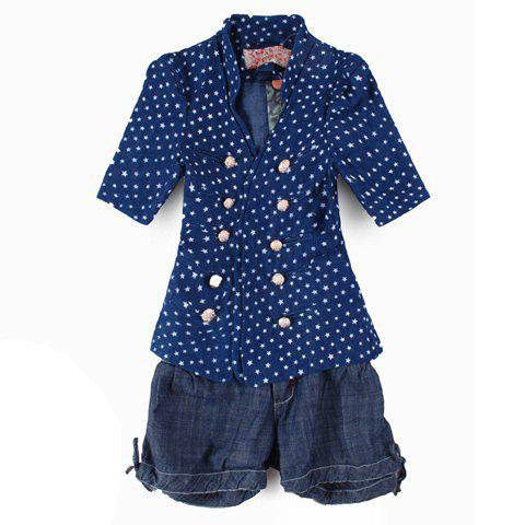 Preppy Style Sweety Lapel Double-Breasted Series Star Print Navy Short Sleeves Cotton Coat For Women - NAVY S