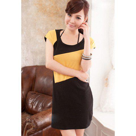 Elegant Scoop Neck Geometric Print Color Block Slimming Dress For Women - YELLOW
