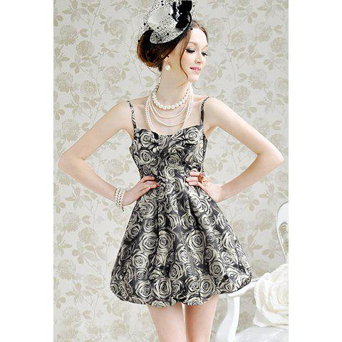 Sexy and Sweet Rose Print Deep Gray Sleeveless Dress For Women