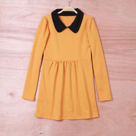 Simply Design Sweet Lapel Colormatching Long Sleeves Cotton Minidress For Women - YELLOW S
