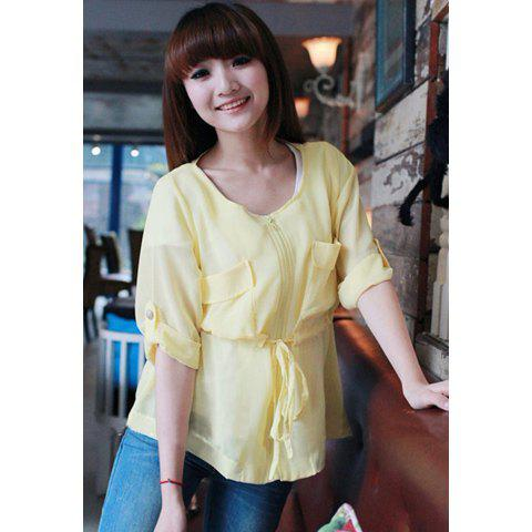 Round Neck Zipper and Pocket Design Loose Fitting  Chiffon Shirt For Women - YELLOW M