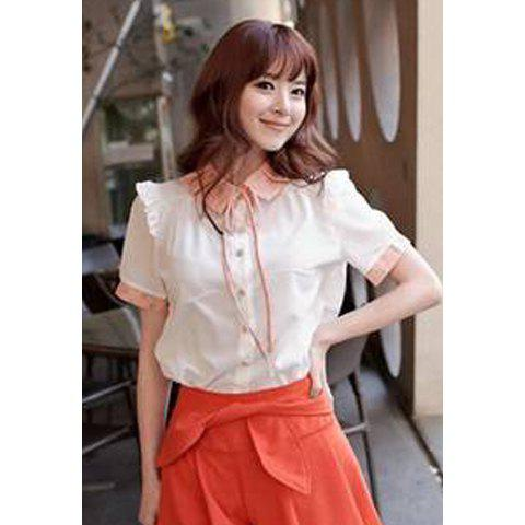 Preppy Style Sweet Lapel Single-Breasted Polka Dots Embellished Short Sleeve Chiffon Shirt For Women - PINK