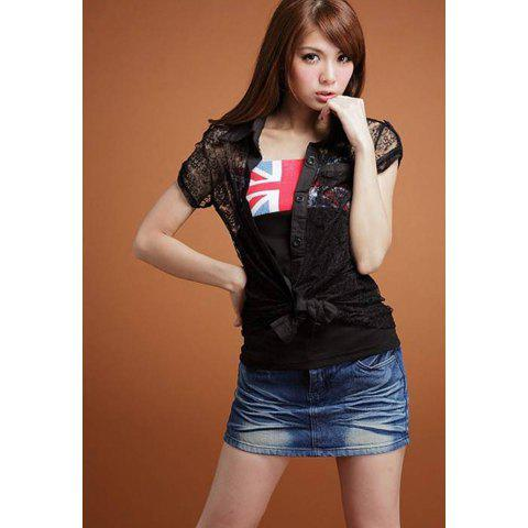 Delicate Lapel Solid Color Openwork Single-Breasted Short Capped Sleeve Lace Coat For Women - BLACK