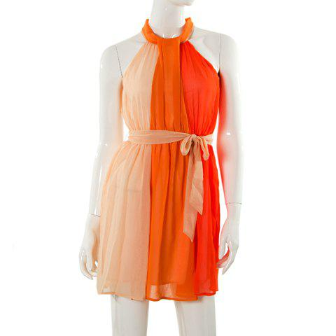 Charming Halterneck Color Block and Waist Band Design Pleated Chiffon Dress For Women