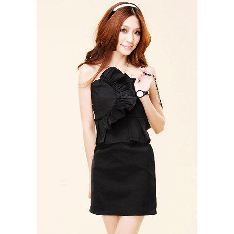 Strapless and Solid Color Design Flouncing Embellished Dress For Women - BLACK