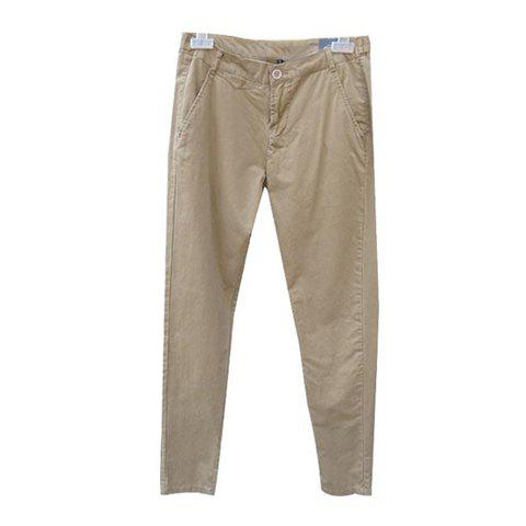 Stylish Solid Color Slimming Casual Trousers For Women - KHAKI S